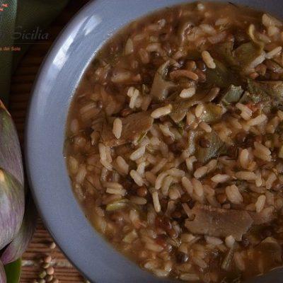 riso con lenticchie e carciofi