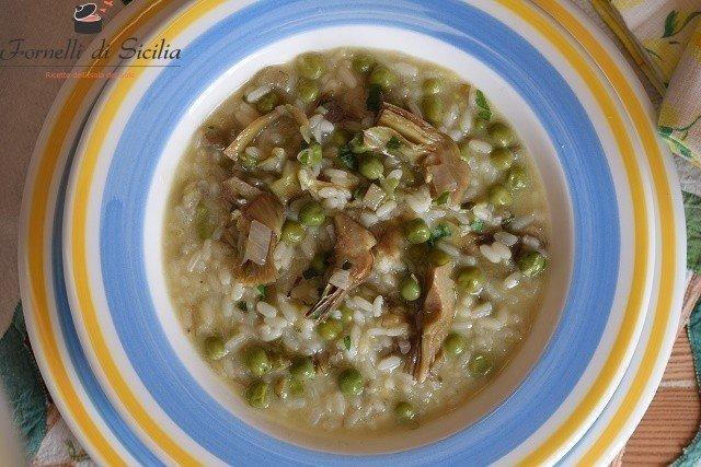 zuppa di riso con carciofi