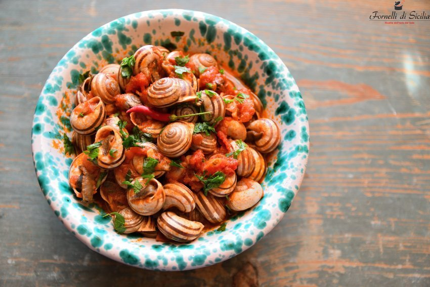 lumache con salsa di pomodoro