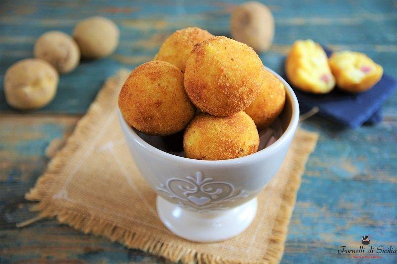 arancine di patate con primosale e prosciutto