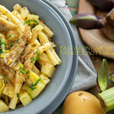 pasta con carciofi patate e bottarga di tonno